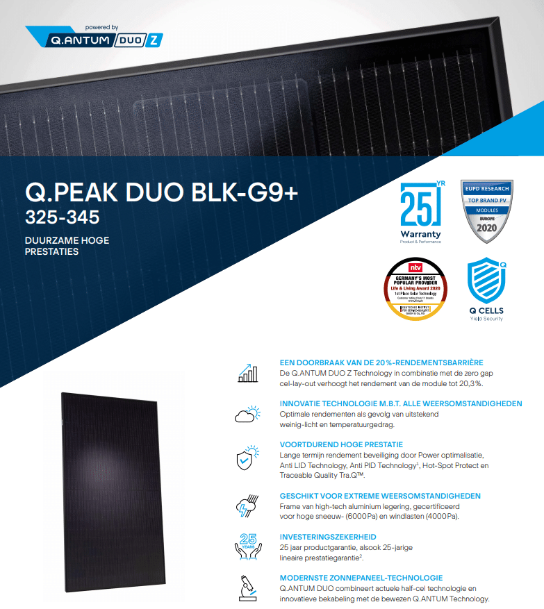 Q-Cells G9+ 340wp BLK